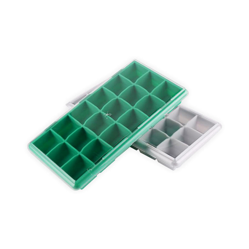18 Cavities 8in square silicone Ice Cube Tray with ABS lid
