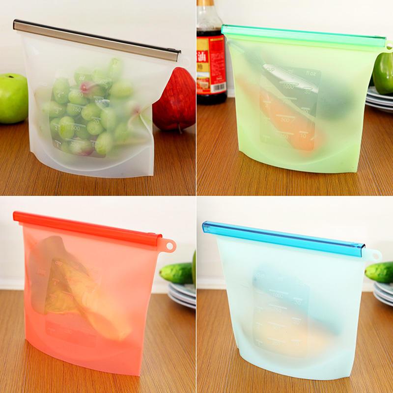 1000ml Food grade reusable silicone food storage bag