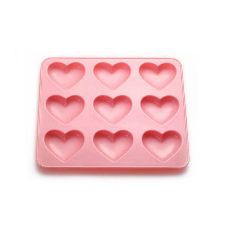 9 cavities food grade heart shape silicone chocolate mold