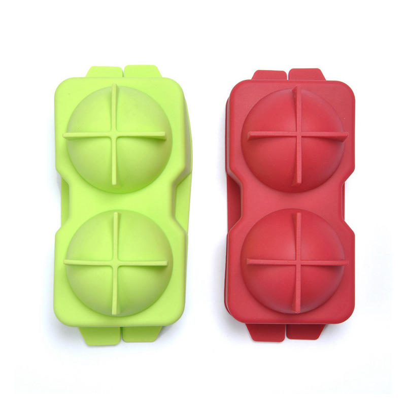 Factory wholesale 2 cavities round shape silicone ice ball maker for whiskey