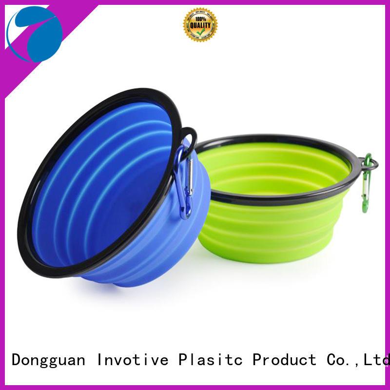 Silicone foldable travel pet dog feeder bowl