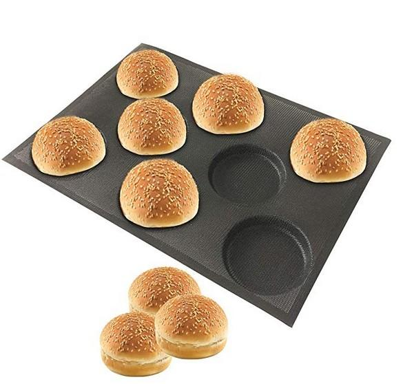 Silicone Hamburger Bread Forms Perforated Bakery Molds Non Stick Baking Sheets Fit Half Pan Size