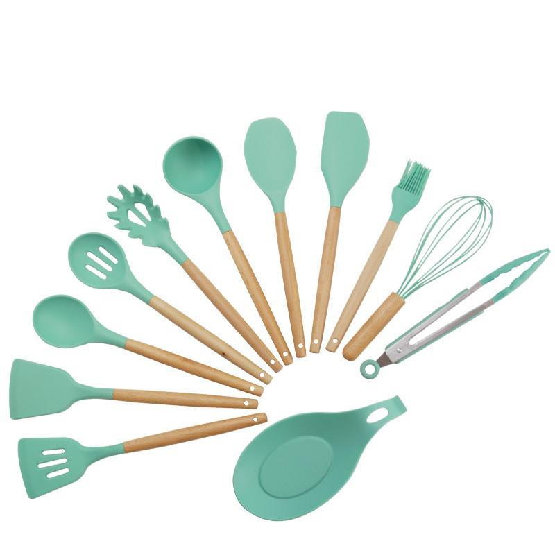 BSCI Factory made 12 Pcs set Silicone kitchen Utensil set
