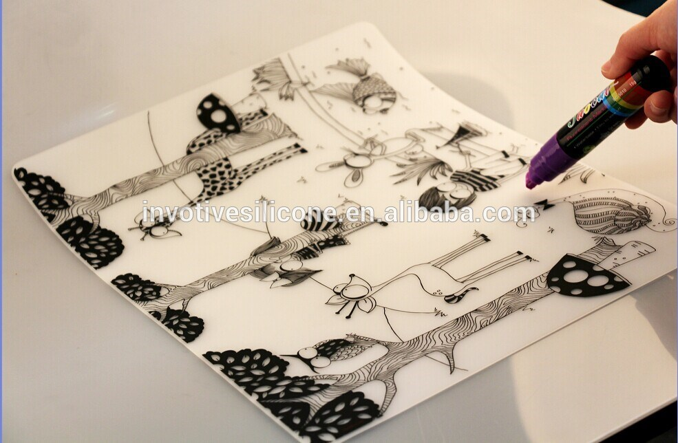Custom size food grade silicone drawing mat with custom printing