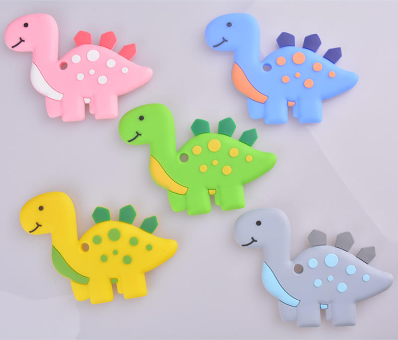 BSCI Factory OEM Custom design BPA free Silicone baby teether and dinosaur chew toy