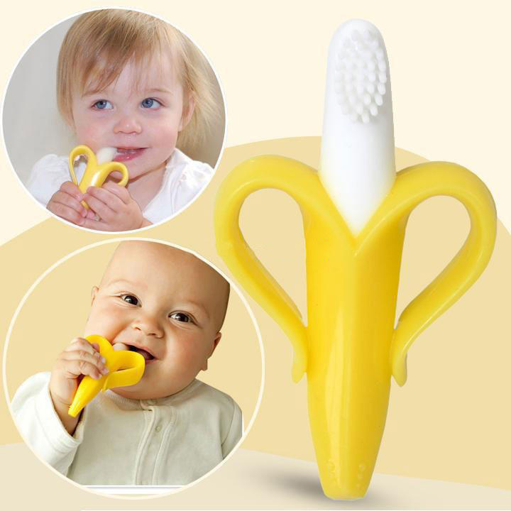 BSCI Factory Food grade BPA free Silicone baby infant training toothbrush and teether