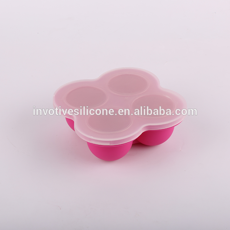 Dishwasher safe 4 Cavities Silicone Baby Food Blocks Storage Container and Freezer Tray with Lid