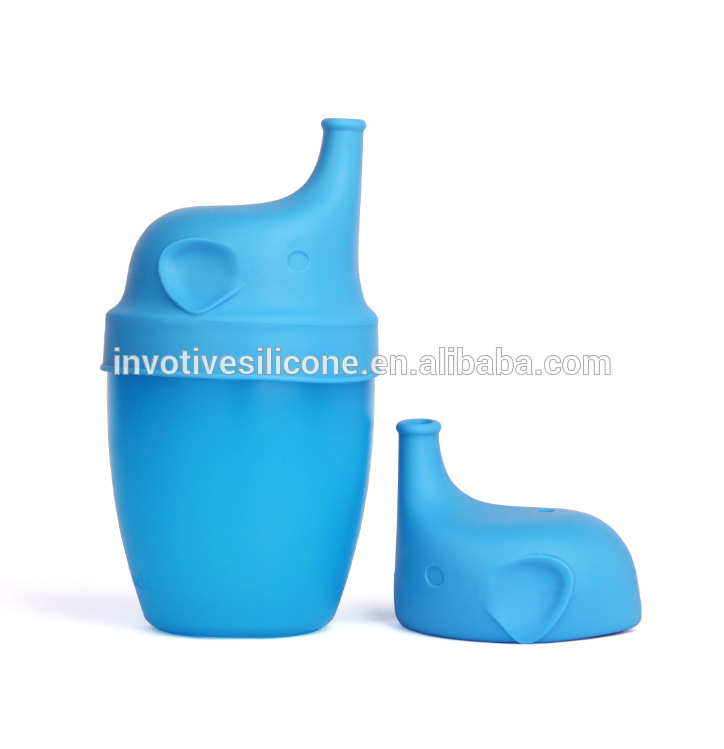 Elephant Cartoon Healthy Sprouts Silicone Sipper Lids Universal Soft Stretch Tops Make Any Cup a Sippy Cup for Toddler Baby