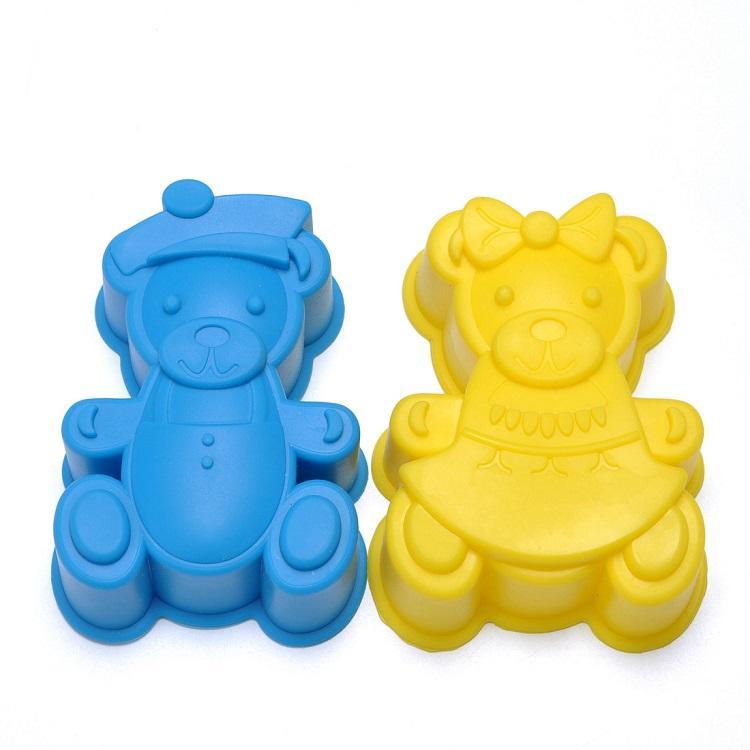 China Factory silicone jumbo bear shape baking mold cake pan