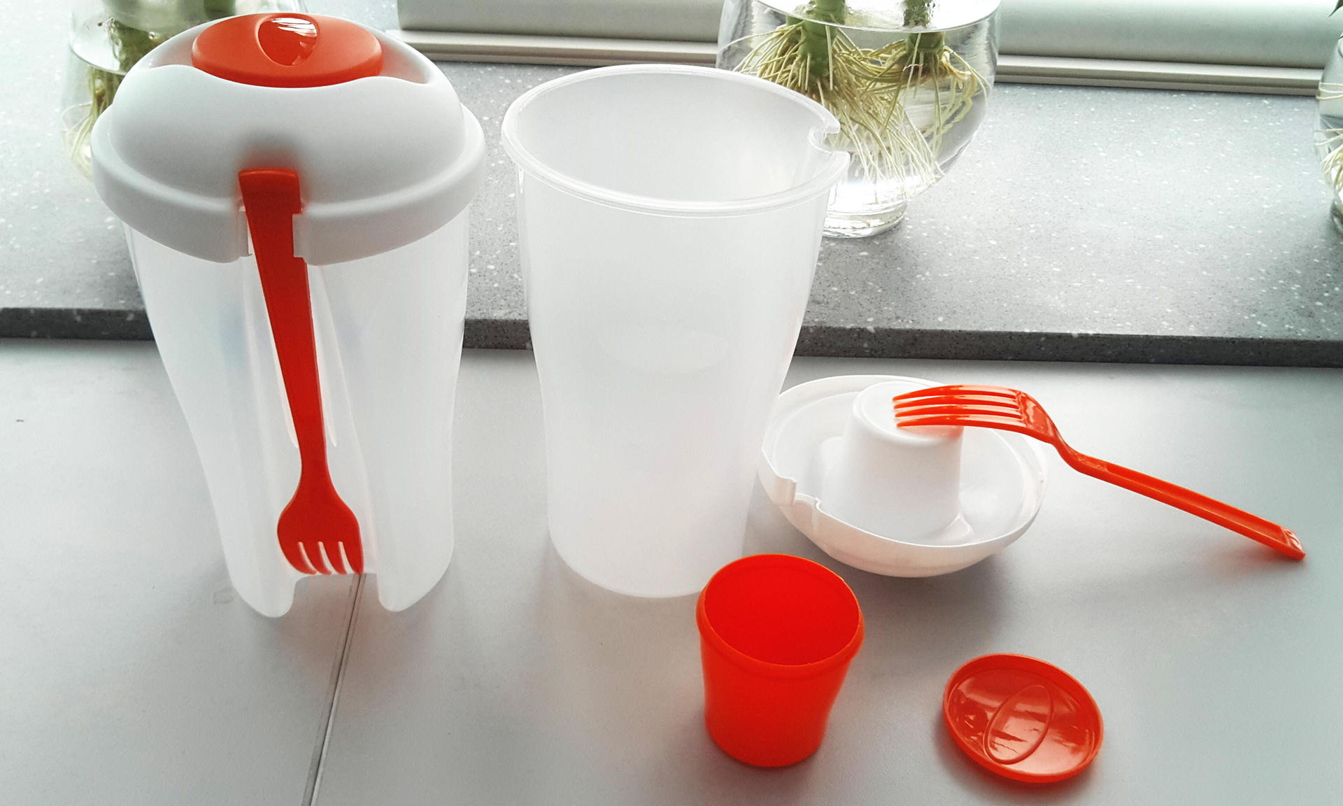 Food grade plastic salad container with fork and dressing Container
