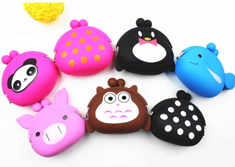 Custom logo cute designs eco-friendly silicone coin purse mini wallet for children