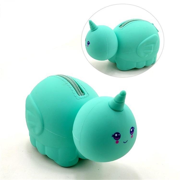 BSCI Factory custom cute round unicorn character shape silicon pencil case school
