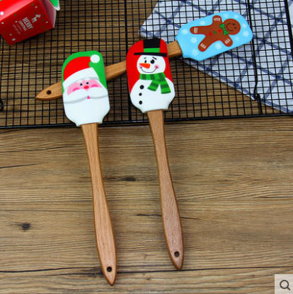 Custom CMYK printing Silicone rubber spatula head with wooden handle