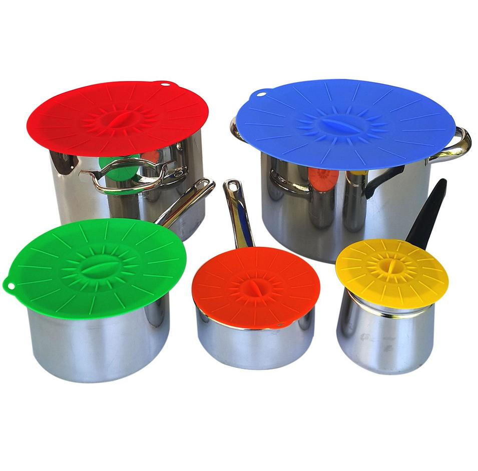 Set of 3 Amazon Hot Sell Suction Airtight Kitchen silicone hot pot lid Reusable bowl cover