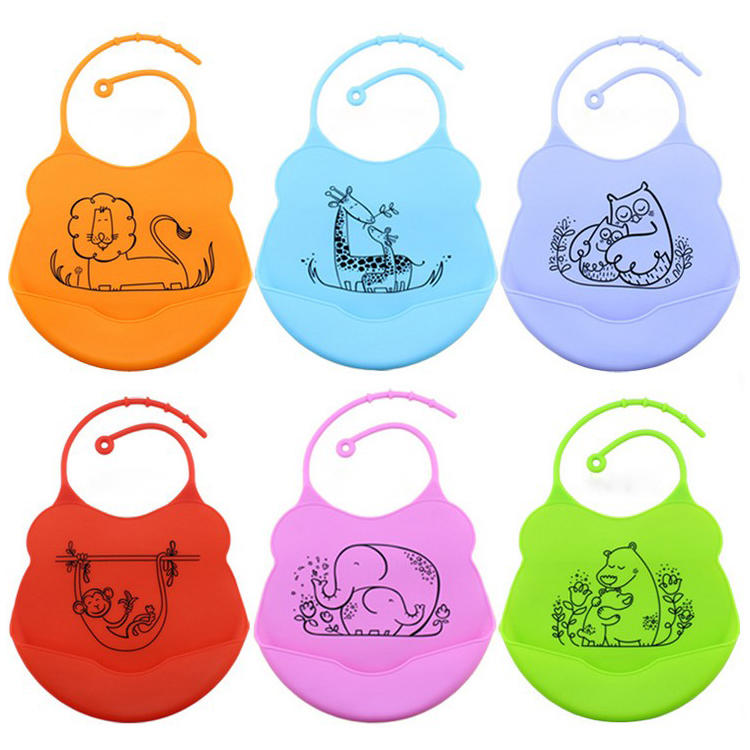 Factory Wholesale Colorful design waterproof silicone baby bibs