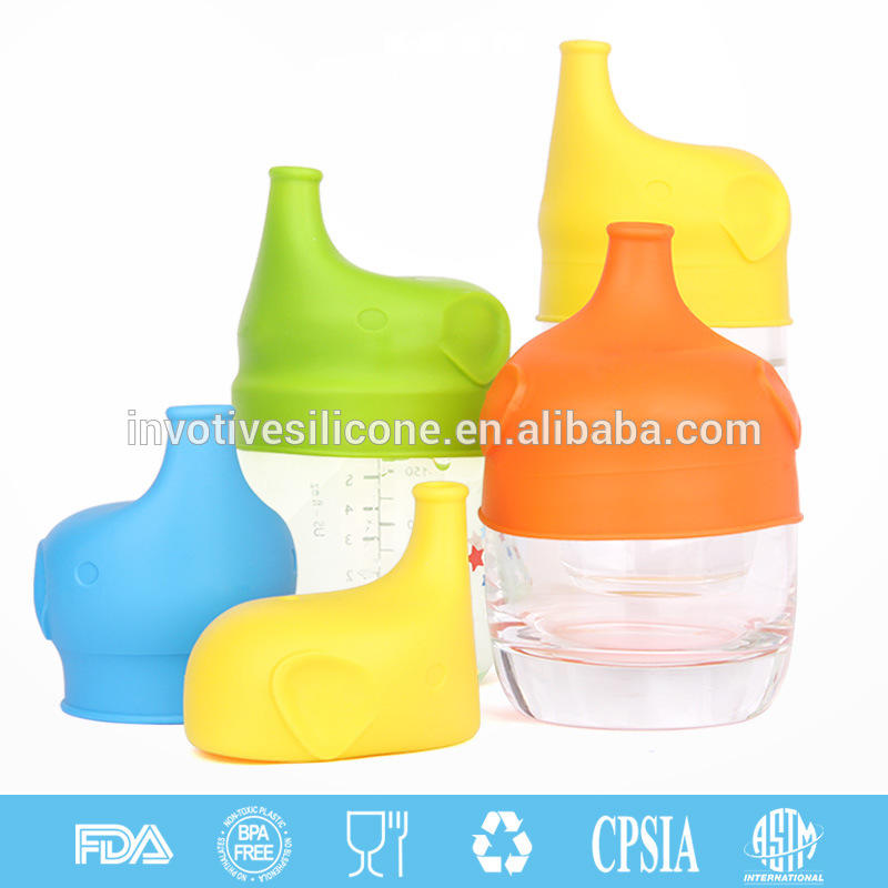 BPA Free Elephant Baby Universal Sipper Silicone Toddlers Spill-Proof Sippy Cup Lid Fit Any Cups