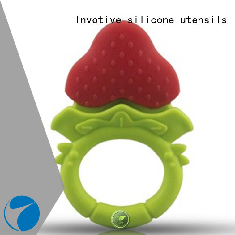 Fruits Shape Molar Rod Baby Teething Rod Soft Silicone Teether Holder for Baby