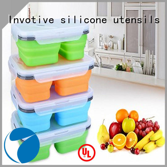 collapsible silicone bowl with lid set for food prep Invotive